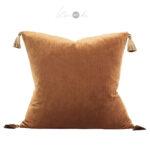 Crushed-velvet-cushion-bronze-tassels