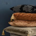 Crushed-velvet-cushion-bronze-tassels-example