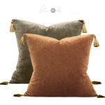 Crushed-velvet-cushion-brown-tassels-both